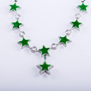 红色文化市场 18k金豪华镶嵌阳绿五角星项链