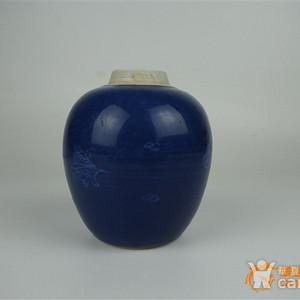 清康熙 祭蓝留白小罐