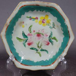 清代粉彩花卉绘画六角供盘