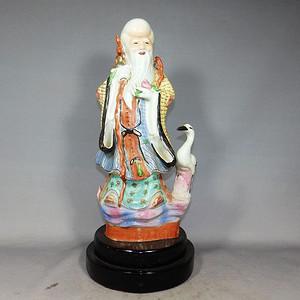 清代粉彩寿星仙鹤塑像