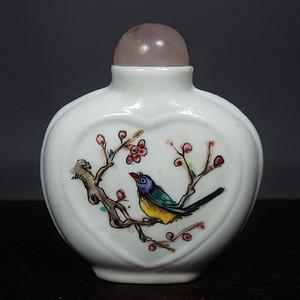民国粉彩花鸟绘画鼻烟壶