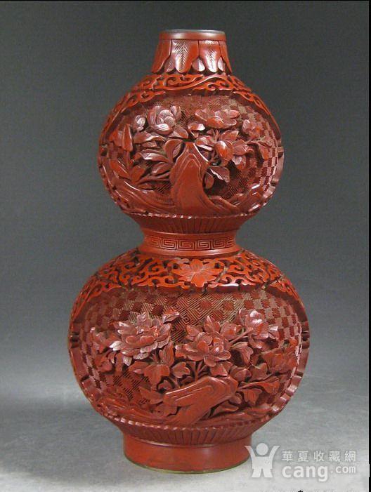 精美剔红花卉纹葫芦瓶图2