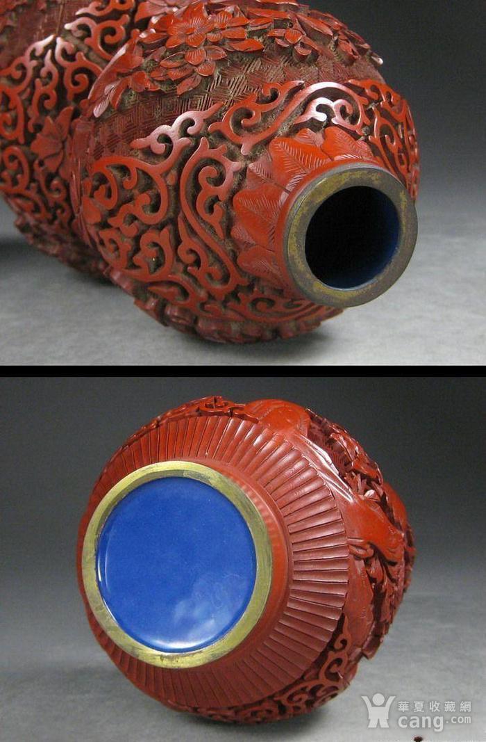 精美剔红花卉纹葫芦瓶图8