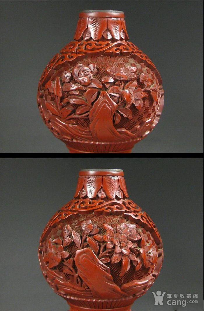 精美剔红花卉纹葫芦瓶图3