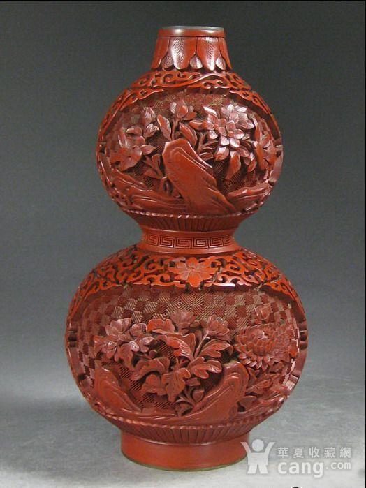 精美剔红花卉纹葫芦瓶图5