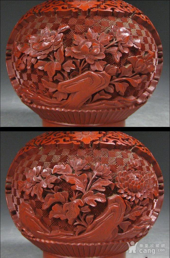精美剔红花卉纹葫芦瓶图6