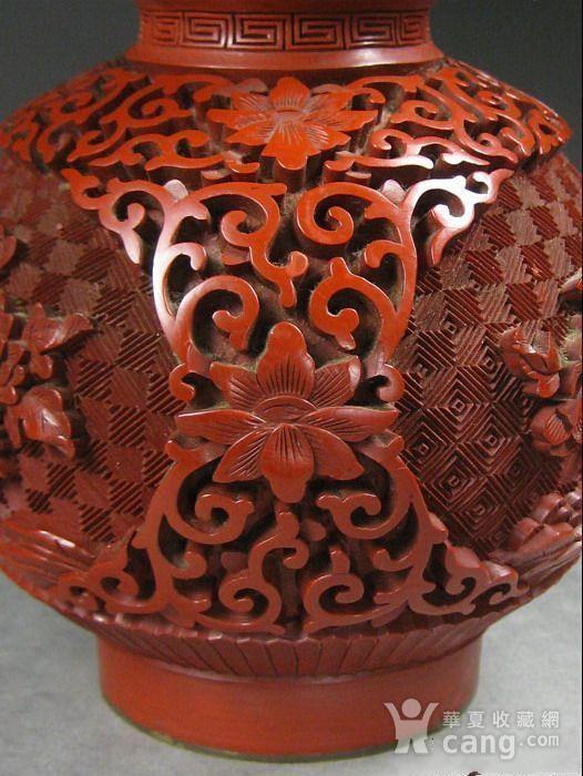 精美剔红花卉纹葫芦瓶图7