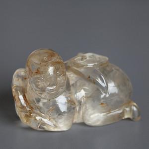精品,水晶圆雕  持荷童子