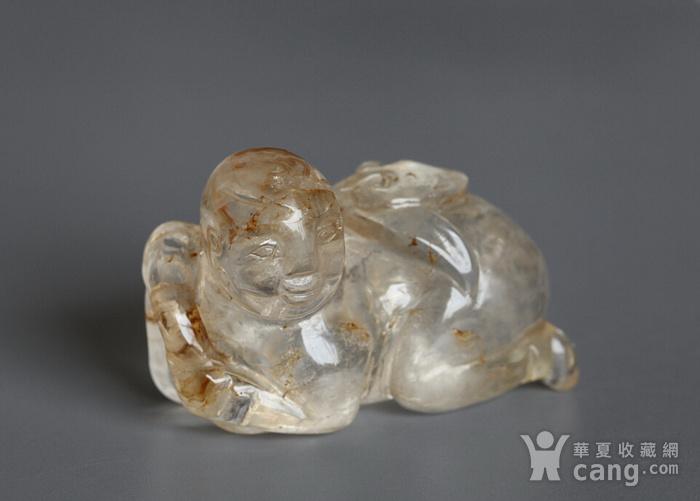 精品,水晶圆雕  持荷童子图3