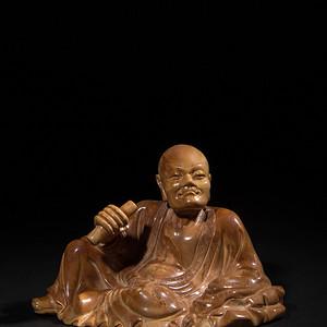 欧亚回流老性寿山精雕持经罗汉造像