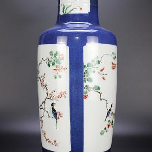 欧亚回流洒蓝釉四开光五彩花鸟棒槌瓶