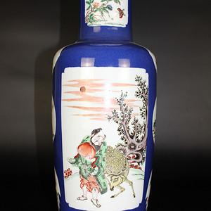 欧亚回流洒蓝釉开光五彩人物棒槌瓶