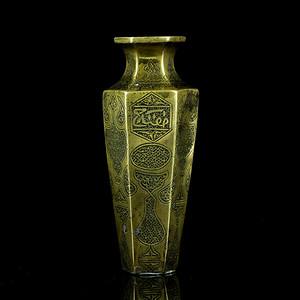 8清波斯纹六角铜瓶