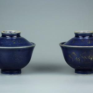 45清中期祭蓝釉描金山水纹盖碗一对