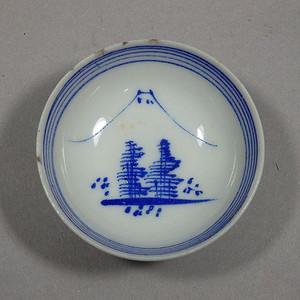 民国蓝料林木绘画盏