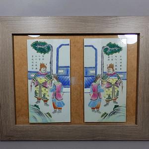 清代粉彩人物绘画瓷板挂屏