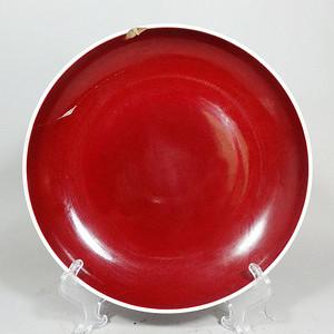 清代红釉盘