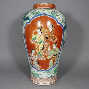明治时期粉彩歌姬开窗绘画罐
