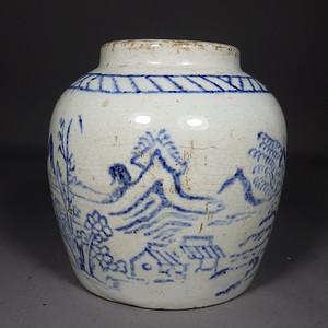 清代青花淡描山水绘画罐
