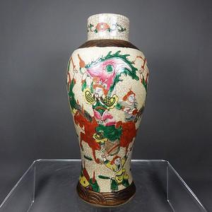 清代哥釉五彩三国人物绘画梅瓶