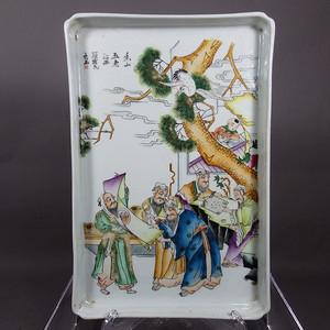民国粉彩岳山五老人物绘画茶盘