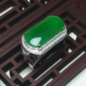 联盟 压轴 帝王绿 满绿好种水 翡翠A货18k白金戒指