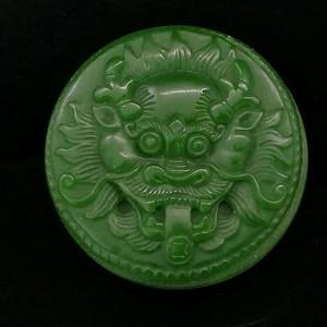 和田菠菜绿碧玉雕刻打磨瑞兽辟邪皮带扣