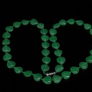 缅甸满绿心形翡翠项链