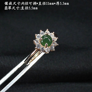 冰满绿翡翠戒指 银镶嵌5334