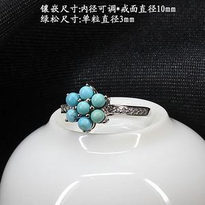 天然原矿绿松石戒指 银镶嵌51116