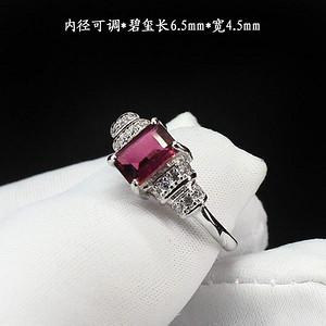 天然红碧玺戒指 银镶嵌5348