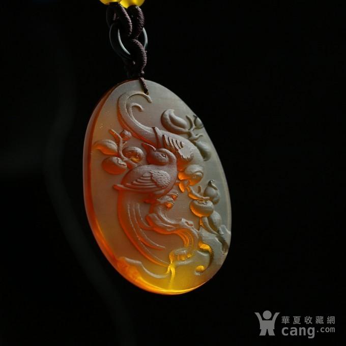 棕红缅甸琥珀喜鹊登枝吊坠 27KN25图1