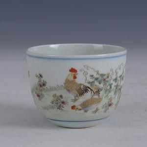 欧洲回流清粉彩花卉鸡缸杯