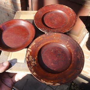 明清大漆木盘三个