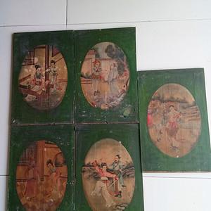 清至民国木板画.一组五块
