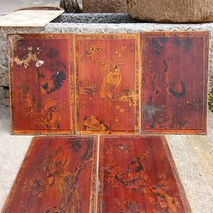 民国木板画一组 五个