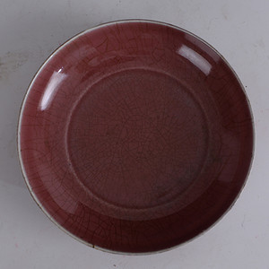 欧洲回流清霁红釉盘