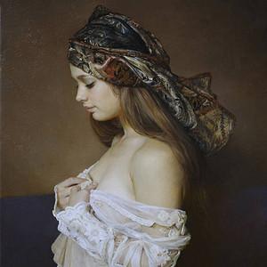 油画,少女1