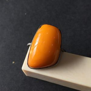 8092欧洲回流俄罗斯银工老蜜蜡戒指
