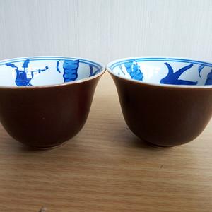 联盟清晚紫金釉疒青花卉洒杯