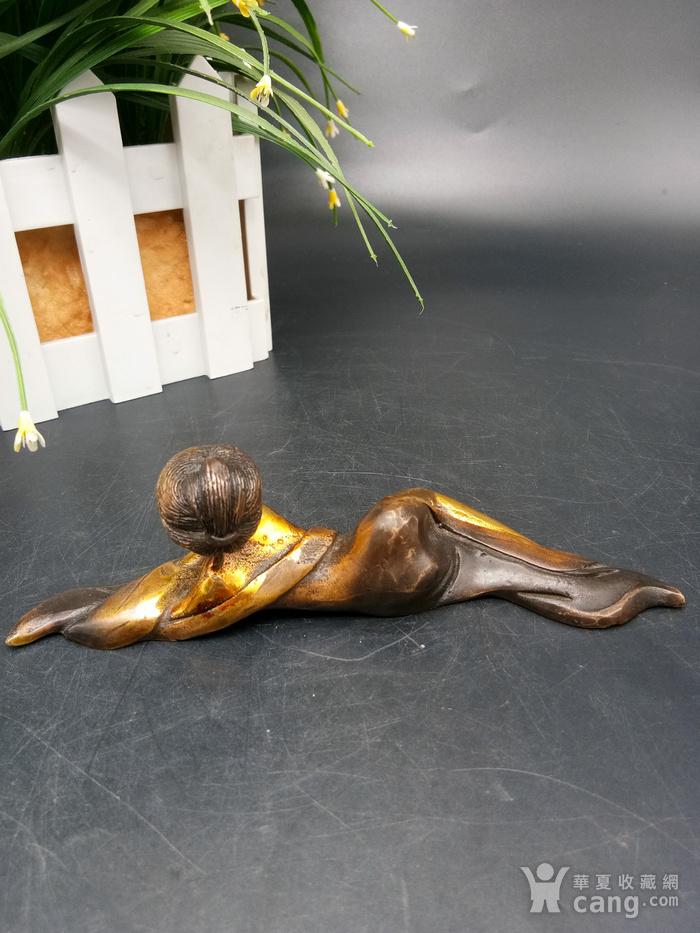 清金铜美女笔架图3