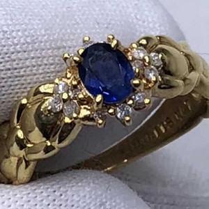 英国回流18k金镶嵌钻石镶嵌蓝宝石戒指