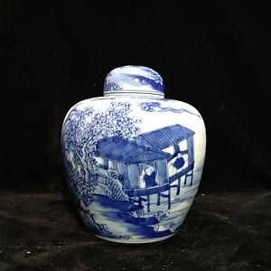 英国回流创汇时期青花茶叶罐