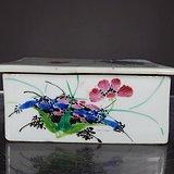 民国粉彩花卉绘画印泥盒