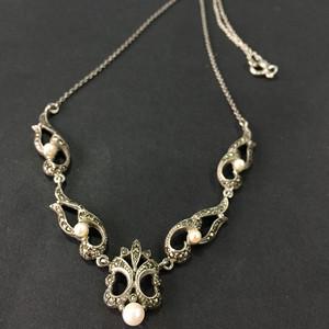 8137欧洲回流老银镶嵌铁矿石珍珠礼服链