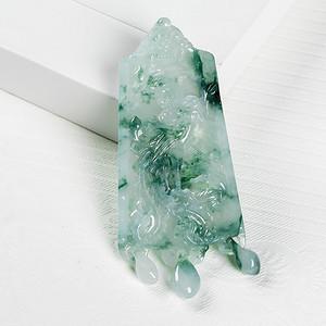 冰润飘绿凤凰来仪吊坠