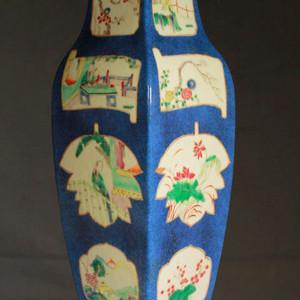 清康熙款霁蓝釉粉彩开光人物花卉纹四方瓶