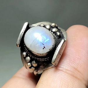 回流 老 月光宝石 纯银 镶嵌 火彩 非常好
