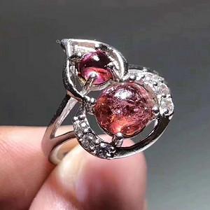 精品 天然 碧玺 葫芦形 戒指 纯净度不错 925银 托