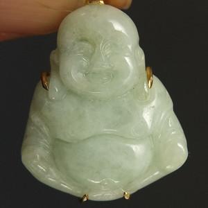 国外回流鎏金镶嵌弥陀佛天然翡翠吊坠